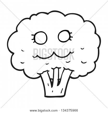 freehand drawn black and white cartoon broccoli