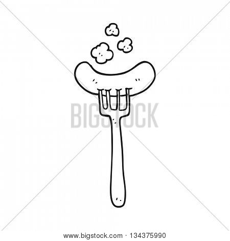 freehand drawn black and white cartoon cooked sausage