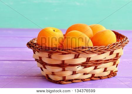 Sweet fresh apricots in basket. Organic orange fruits full of beta-carotene and fiber. Source of vitamins and minerals. Natural healthy vegetarian food, dessert. Stone fruits.