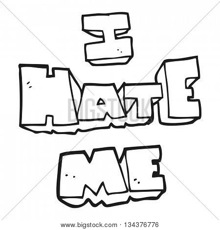 I hate me freehand drawn black and white cartoon symbol