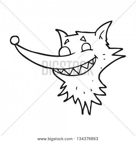 freehand drawn black and white cartoon grinning wolf face