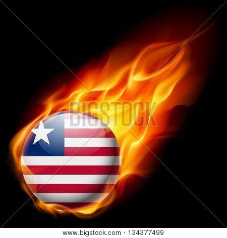 Flag of Liberia as round glossy icon burning in flame