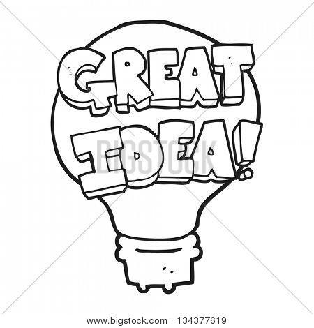 freehand drawn black and white cartoon great idea light bulb symbol