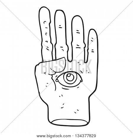 freehand drawn black and white cartoon spooky hand with eyeball