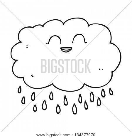 freehand drawn black and white cartoon raincloud