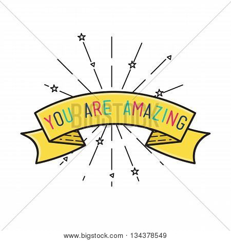 You Are Amasing Inspirational Vector Illustration, Motivational Quotes Flat Poster
