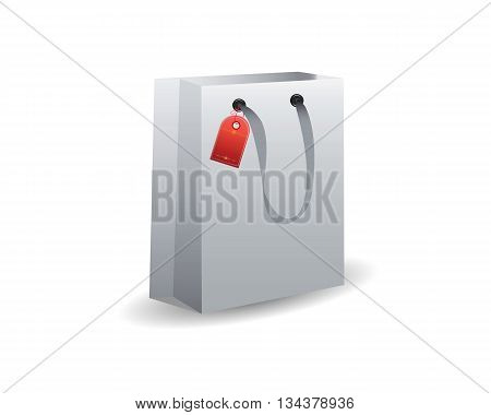 gray paper bag for gifts on a white background