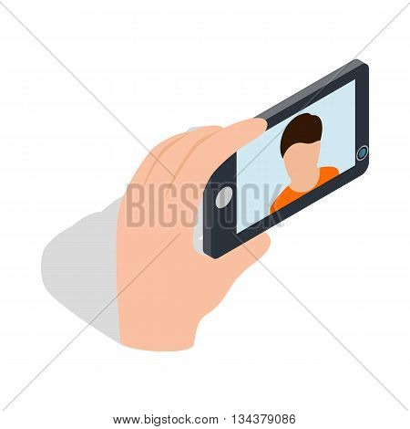 Young man taking selfie photo icon in isometric 3d style on a white background