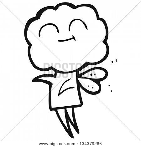 freehand drawn black and white cartoon cute cloud head imp