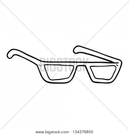 freehand drawn black and white cartoon spectacles