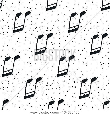 Seamless pattern with music notes. Hand-drawn music seamless background, black and white. Vector notes