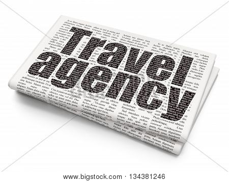 Travel concept: Pixelated black text Travel Agency on Newspaper background, 3D rendering