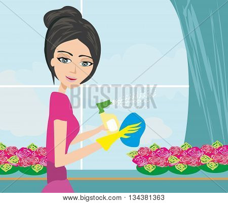 woman in gloves cleaning window , vector illustration