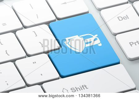 Insurance concept: Enter button with Car And Shield on computer keyboard background, 3D rendering