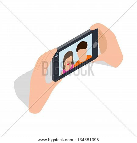 Couple taking selfy of themselves icon in isometric 3d style on a white background
