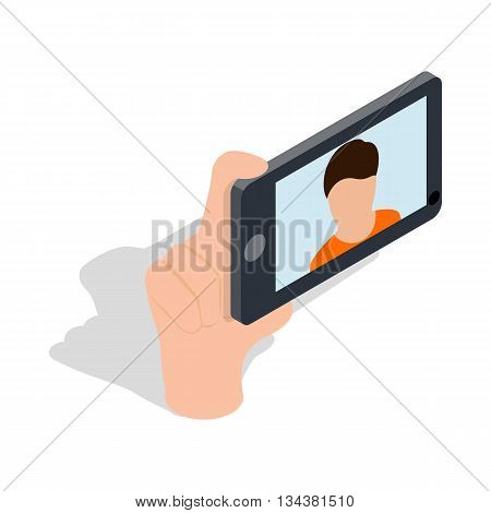 Guy taking selfie photo on smartphone icon in isometric 3d style on a white background