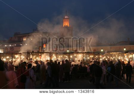 the bustling medina at night traders