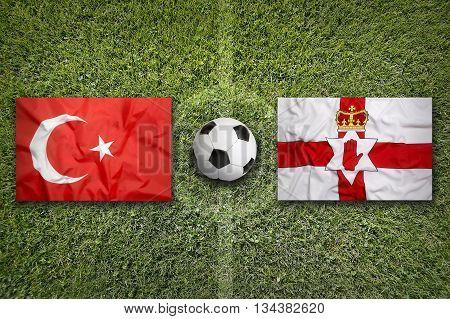 Turkey Vs. Northern Ireland Flags On Soccer Field