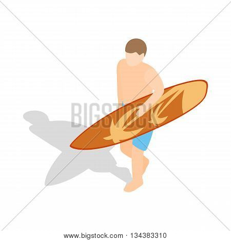 Surfer carries his surfboard icon in isometric 3d style on a white background