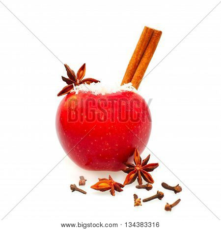 Christmas food decor isolated - red apple anise and cinnamon