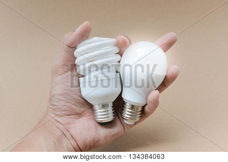 LED bulb and Compact Fluorescent bulb on hand - The alternative technology