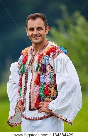 Romanian Farmer In Traditional Costume