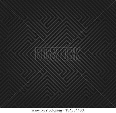 Seamless geometric dark pattern by stripes. Modern vector background with repeating lines. Seamless geometric background