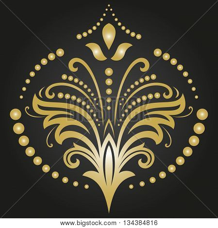 Floral vector pattern with fine arabesques. Abstract oriental ornament. Black and golden pattern