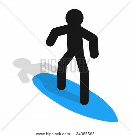 Surfer icon in isometric 3d style on a white background