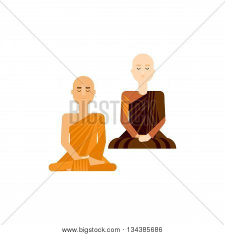 Thai monks sitting and meditating. Buddhist men and women in traditional religious robe. Eastern monk poses vector illustration. Flat design religious characters.