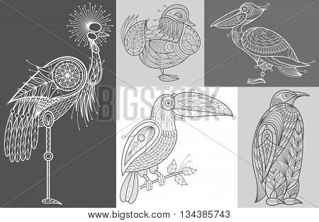 Vector Image Pelican Crowned Crane mandarin duck toucan penguin. Set of abstract birds illustrations. Black and white. The concept of unusual design objects of nature.