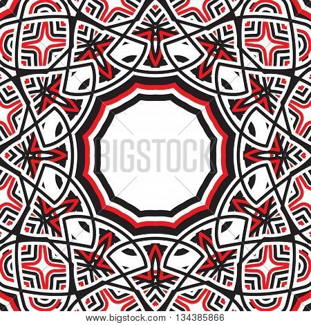 Geometric pattern with eastern ornament fancy flower. Black, red, white color.