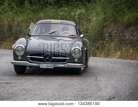 ITALY MILLE MIGLIA 2015  PESARO, ITALY - MAY 15: MERCEDES-BENZ 300 SL Coupé W 198 1955  on an old racing car in rally Mille Miglia 2015 the famous italian historical race (1927-1957) on May 2015