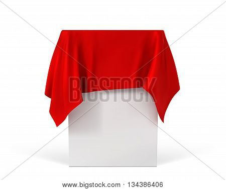 red cloth on a square pedestal isolated on white