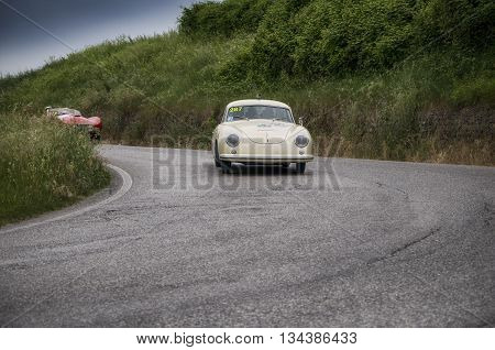 ITALY MILLE MIGLIA 2015 PESARO, ITALY - MAY 15: PORSCHE 356 1500 Super Coupé 1953  on an old racing car in rally Mille Miglia 2015 the famous italian historical race (1927-1957) on May 2015