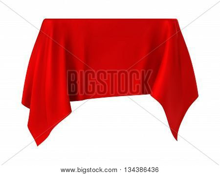red tablecloth. isolated on a white background.