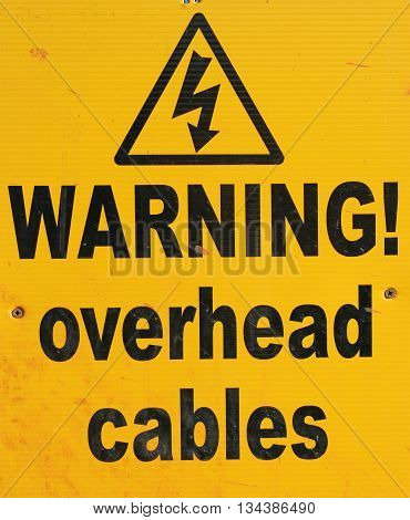 Sign warning of danger from electric cables
