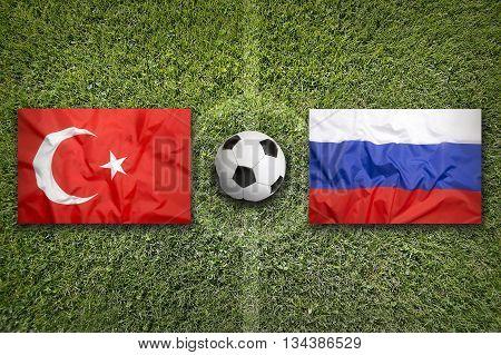 Turkey Vs. Russia Flags On Soccer Field