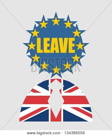 United Kingdom exit from europe relative image. Brexit named politic process. Referendum theme. Human icon textured by Britain and Europe flags. Leave word