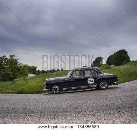 ITALY MILLE MIGLIA 2015  PESARO, ITALY - MAY 15:  MERCEDES-BENZ 220 A 1955  on an old racing car in rally Mille Miglia 2015 the famous italian historical race (1927-1957) on May 2015