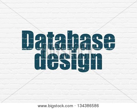 Software concept: Painted blue text Database Design on White Brick wall background
