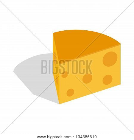 Piece of cheese icon in isometric 3d style on a white background