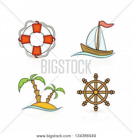 Set of colored marine icons, isolated on white background, nautical theme illustration