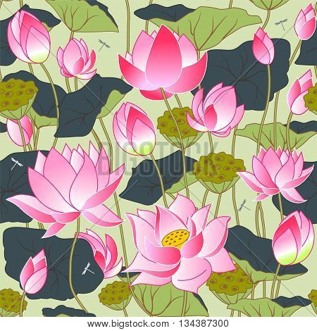 blooming pink lotus flowers leaves buds and lotus flowers seamless vector background