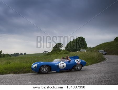 ITALY MILLE MIGLIA 2015 PESARO, ITALY - MAY 15: JAGUAR D-Type 1955  on an old racing car in rally Mille Miglia 2015 the famous italian historical race (1927-1957) on May 2015