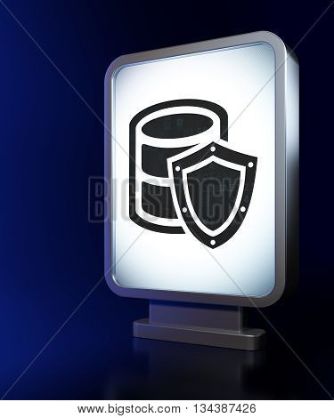 Database concept: Database With Shield on advertising billboard background, 3D rendering