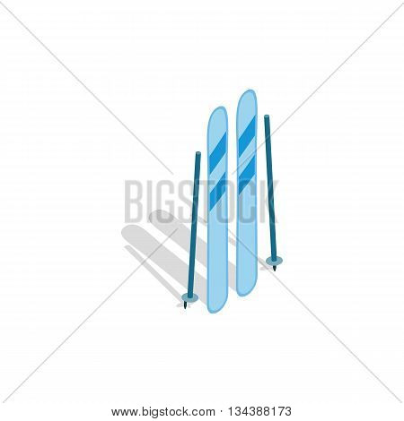 Ski equipment icon in isometric 3d style on a white background