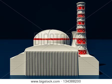 3D Illustration of Nuclear power station on dark background
