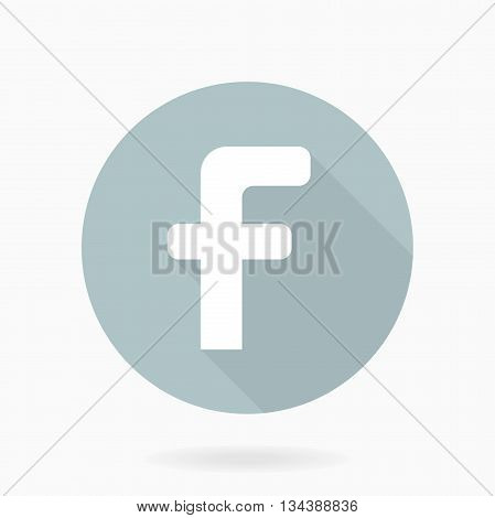 Fine vector letter F in the circle. Flat design and long shadow. Light blue and white colors