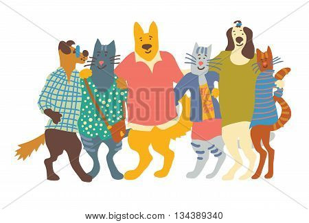 Cats and dogs pets group friends friendship hugs isolate on white. Color vector illustration. EPS8